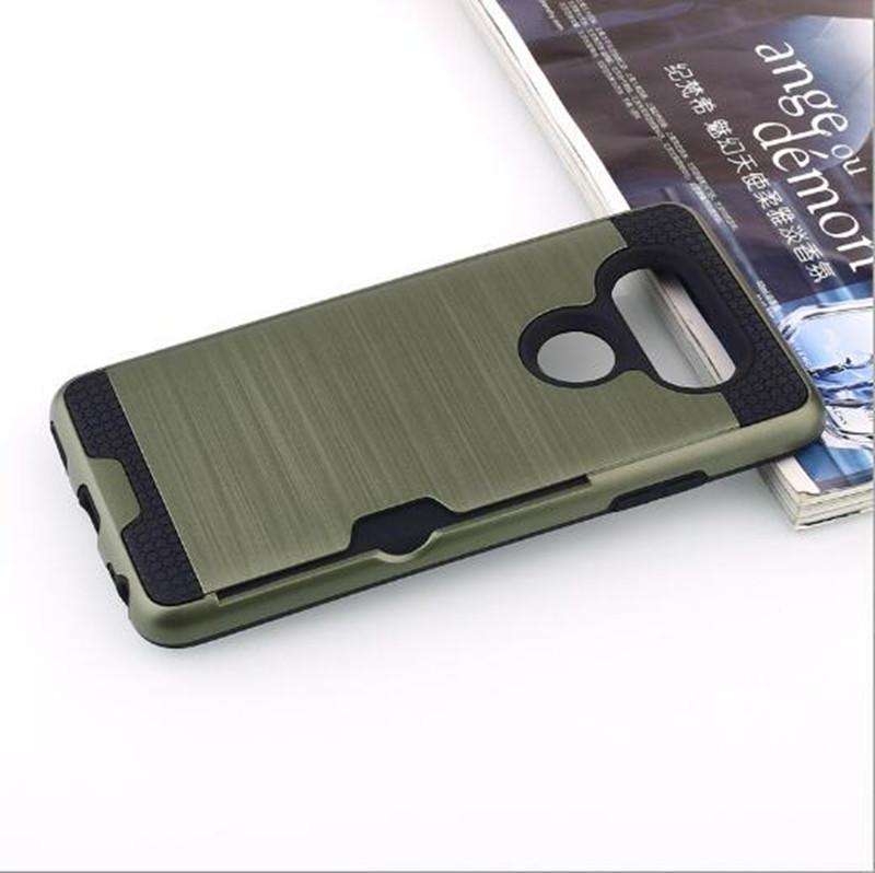 best service 7c56f 60c2f Armor Brushed Case For iPhone X iPhone 8 Plus For LG V30 For Galaxy Note 8  Hybrid Rugged Credit Card Slot Back Cover