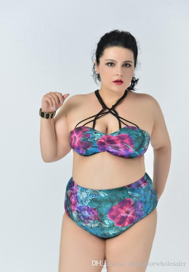 2018 plus size bathing suit for women strapless bikini tops high