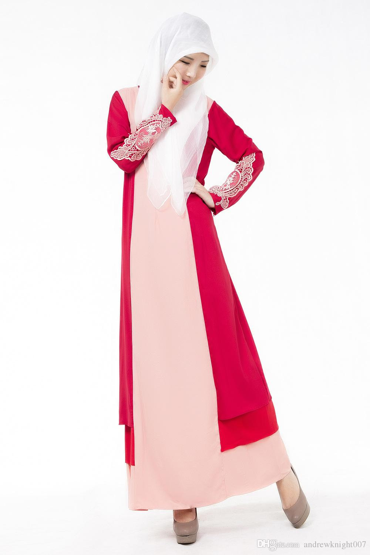 Frauen-moslemisches Kleid 3 färbt Weinlese-Kaftan Abaya Patchwork dünne lange Hülsen-weiche Maxi islamische DK722MZ Freies Verschiffen Dropshipping
