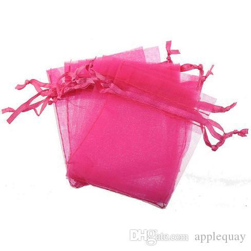 Bustine di gioielli Display perline artigianali Regalo Borse gioielli Mostra coulisse Lucency Rettangolo Organza Candy Nero Blu 7 * 9cm 300 pezzi