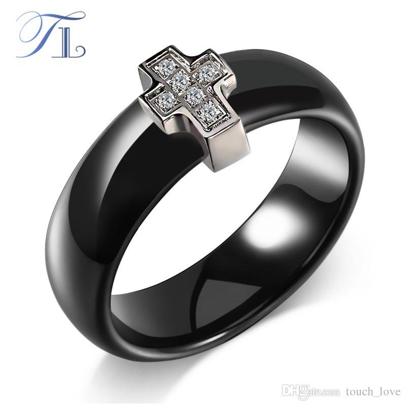 305ca2b20 TL Black & White Ceramic Rings Cross Cubic Zircon Cabochon Smooth ...