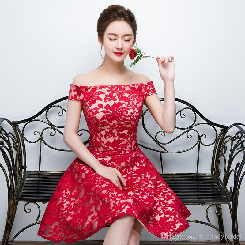Red Short Prom Dresses 2016 Lace Appliques Off The Shoulder Homecoming Gowns Lace Up Elegant Cheap Party Dress For Cocktail Designers China