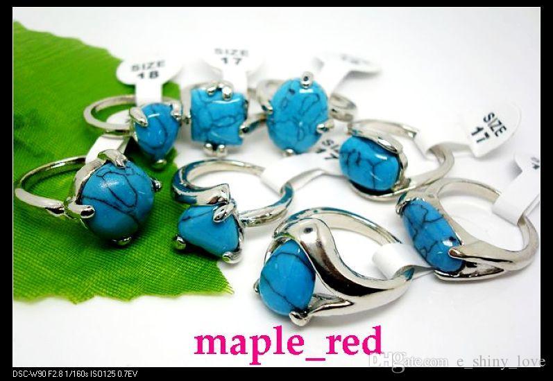 Großhandel / Vintage-Look blau Türkis Stein Ringe Multi-Design Mischgrößen für Frauen Modeschmuck Ringe