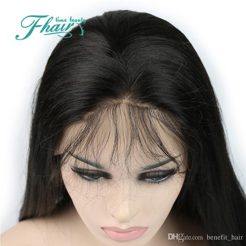 Parrucca piena del merletto diritto diritto serico 8A parrucca anteriore del merletto dei capelli umani glueless con la parte centrale Linea sottile naturale le donne nere