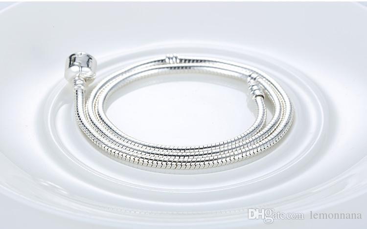 925 الفضة الاسترليني مطلي 3MM الأفعى سلسلة الخرز الأوروبي يناسب باندورا سوار الإسورة قلادة سلسلة مع شعار 16CM-45CM