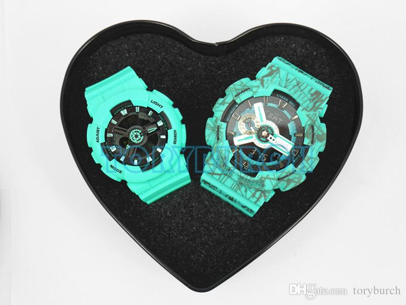 Couple watch Christmas Gift top quality all functions with water resistant Sports watch with heart box for lover for family