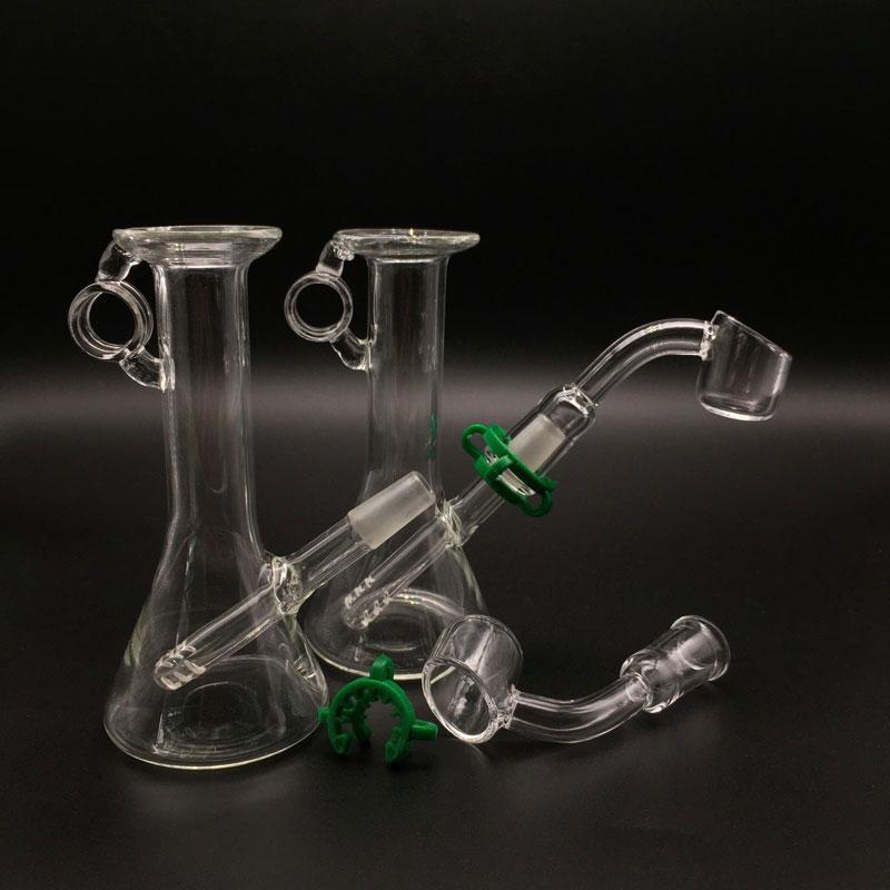 Piccoli bubbler Mini Beaker in vetro da 4 pollici con bugnato da 2 mm di spessore banger mini Dab Rigs Tubi l'acqua in vetro