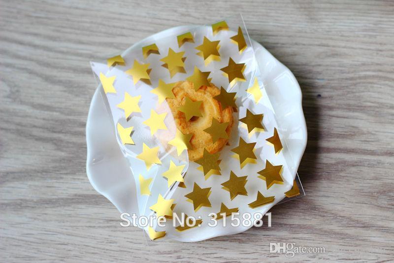 NEUE weiße goldene Sterne kleine Zusätze Zellophan-Bevorzugungs-Minitaschen, Selbstdichtungs-Partei-Verpackung, Geschenkverpackungstaschen