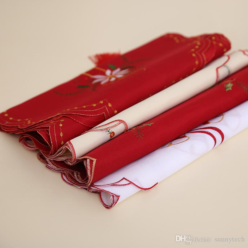 40*170cm Fancy Santa Christmas Embroidery Hollow Table Flag Table Runners Wedding Party Chair Bands Vintage Home Xmas Decoration