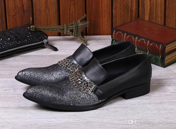 Heißer verkauf männer freizeit leder schuhe modedesigner spitz ketten slip on bootsschuhe mann büro karriere fuß tragen 38-46