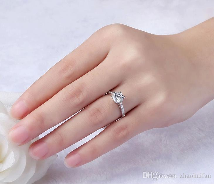 ZHF Jewelry Have Silver Certificate of Authenticity 100% Solid 925 Sterling Silver Ring 1CT SONA CZ Diamond Engagement Ring for Women