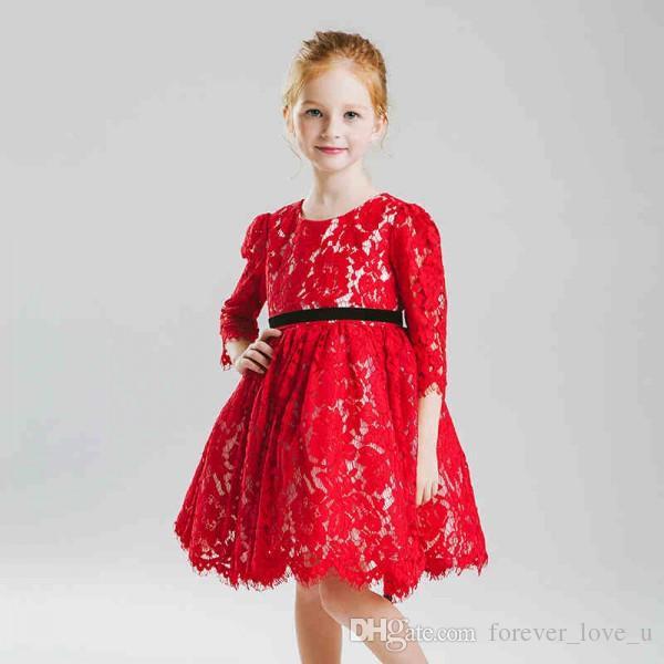 Pageant платье милых цветка девочка платье для свадьбы красных кружев Vintage Коротких девушек с Illusion рукавами Black Sash Верхнего качеством