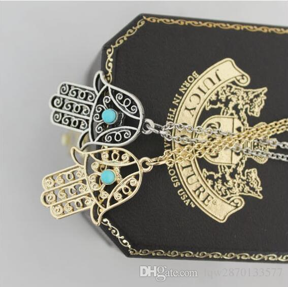 Fashion Punk 18K Gold Vintage Silver Plated Turquoise Retro Hamsa Fatima Hand Pendants Chain Necklace Jewelry For Women And Men