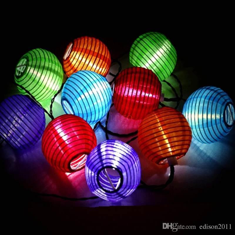 2W AC110V Giriş ABD Tak Amerikan Bayrağı Kağıt Fener 75mm Çap LED Işık Işık Işıklar Dekorasyon için 4 Metre a Set