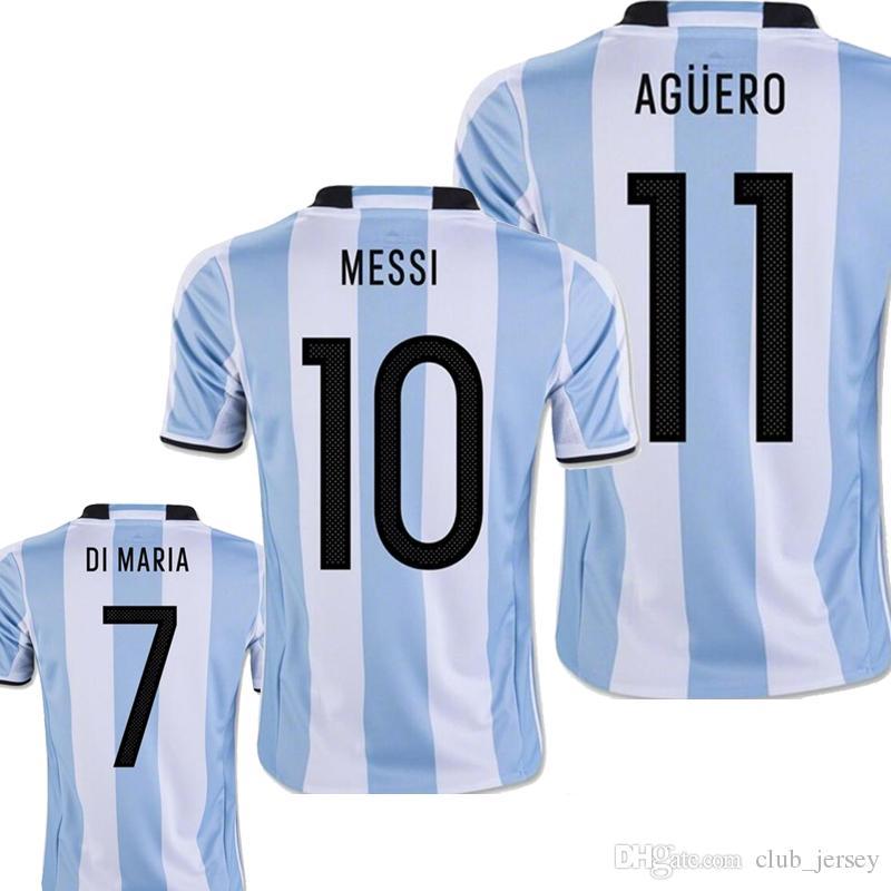 Jerseys Argentina 2017 Uniformes De Futbol 17 18 MESSI Home Blanco  Argentino DI MARIA AGUERO KUN AGUERO LAVEZZI Camiseta De Futbol Por  Club jersey 4be1fa1f0a558