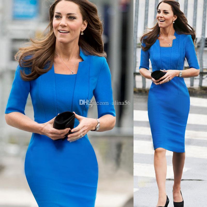 Moda Celebrity Princess Kate Middleton Mismo estilo OL Bodycon Media manga Mujeres Azul Vestido formal rojo Envío gratuito