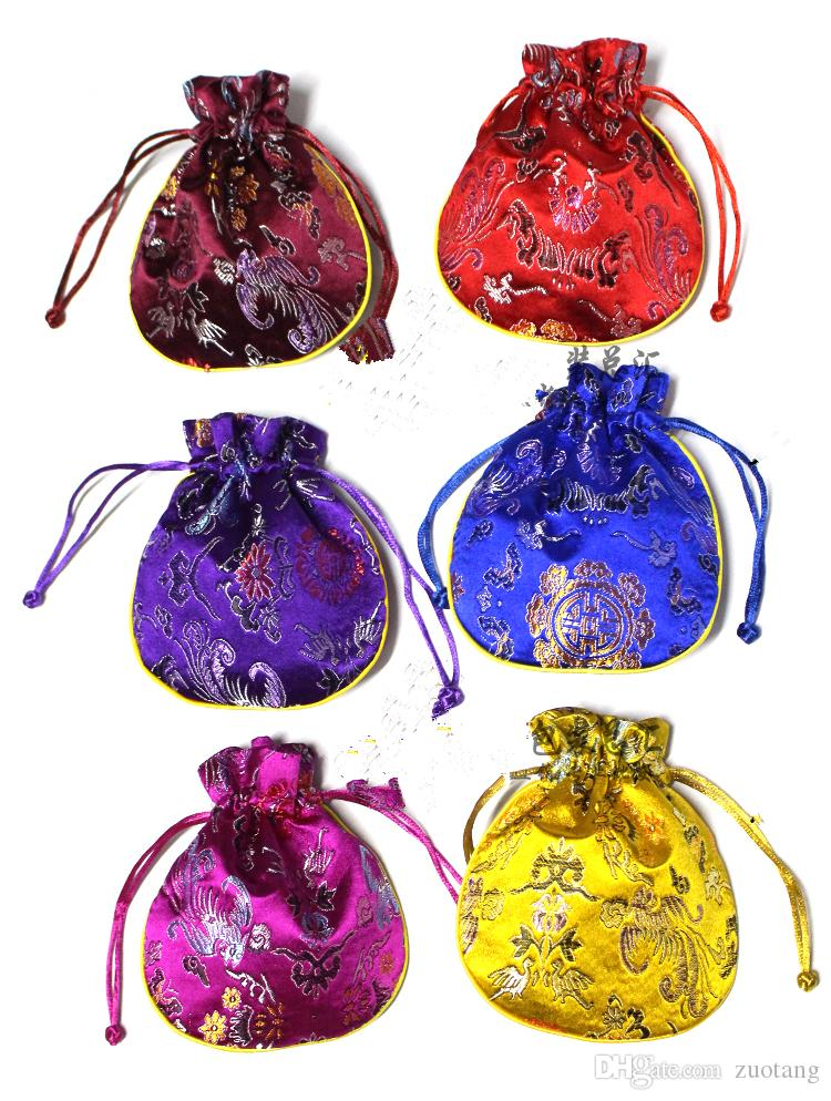 Dragon phoenix pattern Small Silk brocade Pouch Drawstring Jewelry Makeup Gift Packaging Spice Sachet Coin Pocket Tea Candy Favor Bag
