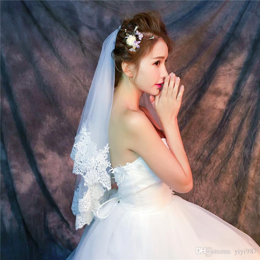Y-O17 Vaisons en gros Veils de haute qualité Real Photos Vitres pourpre Blanc Netting Veils pour Tulle de mariée avec dentelle rapide Livraison gratuite sur Veils