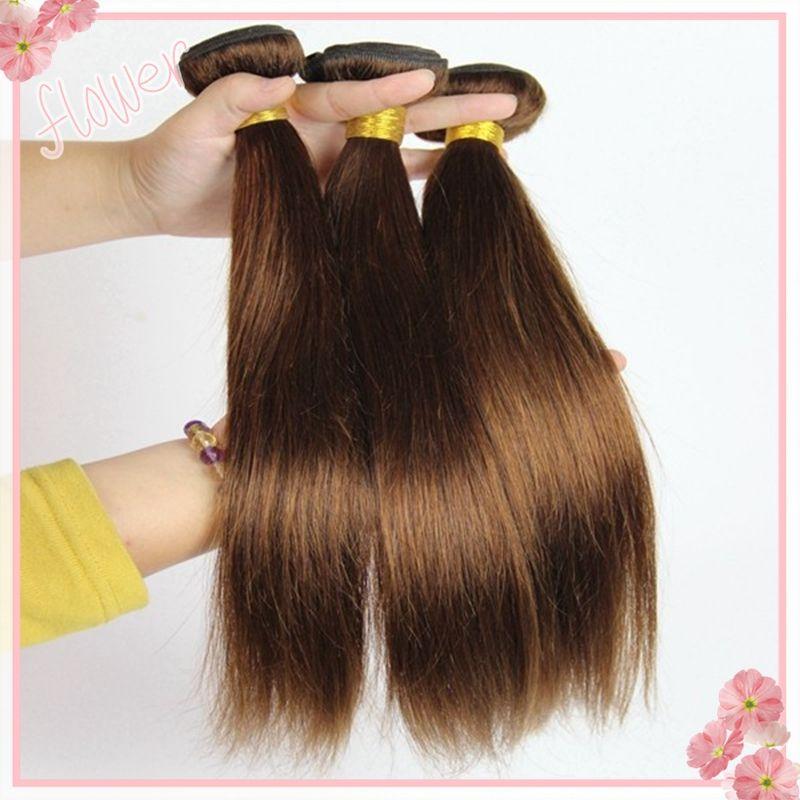 #4 Middium Brown Brazilian Virgin Remy Hair Silky Straight Weave Chocolate Mocha Brazilian Straight Human Hair Bundles Extensions