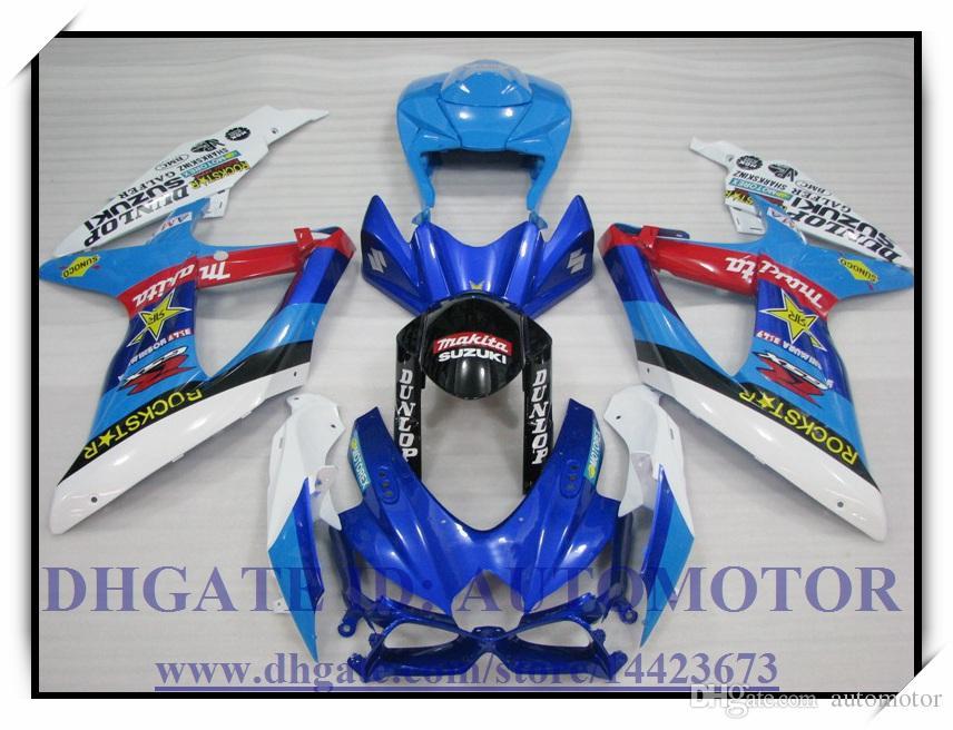 Iniezione 100% nuovissimo kit carenatura adatto Suzuki GSXR600 k8 2008 2009 GSXR750 2008 2009 GSX-R600 GSX-R750 08-09 # HA524 BLU BIANCO
