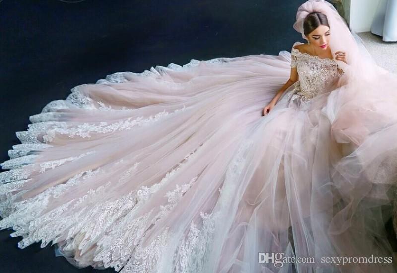 Erstaunlich Erröten Rosa Brautkleider Spitze Appliques Perlen Kurzarm Brautkleider Tüll Kapelle Zug Brautkleider Nach Maß