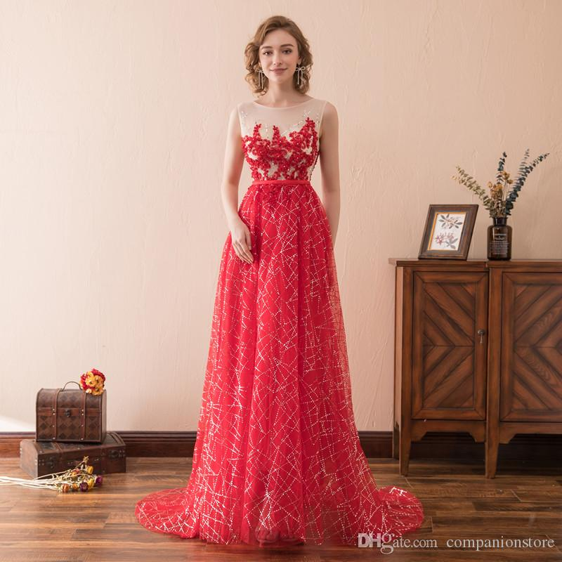 In Stock Red Tulle Scoop Neck Tank Zipper With Beaded Crystal Appliques Transparent Sweep Train Long Evening Gown Homecoming Dress