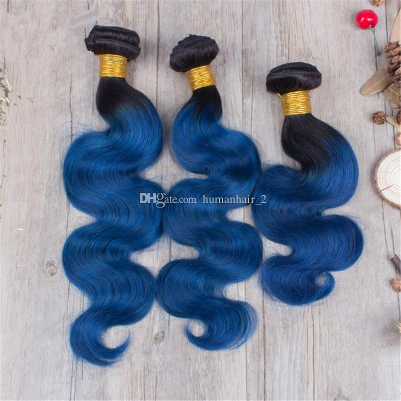 Neu Kommen Blaue Spitze Schließung Mit Bündeln Körperwelle Menschenhaar Zwei Ton 1b Blaue Malaysische Jungfrau Menschenhaar Bündel Mit Schließung