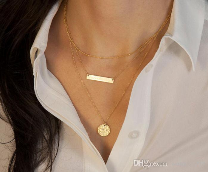 Hot Fashion Gold Plated Fatima Hand 3 Layer Chain Bar choker collar Necklace Beads and Long Strip Pendant Necklaces Jewelry