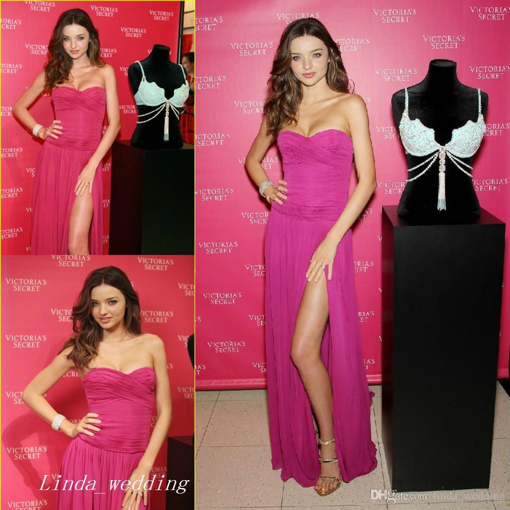 Miranda Kerr Fuchsia Evening Dress Red Carpet Side Slit Prom Dres ...