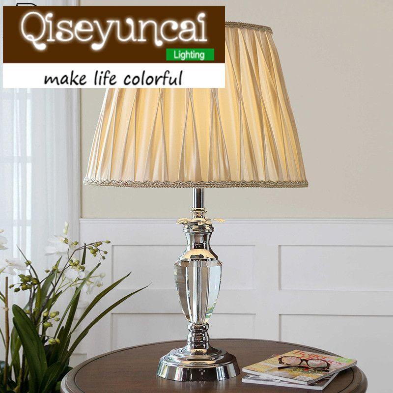 Qiseyuncai European style The wedding cozy bedroom K9 crystal Beige table lamp modern simplicity luxury high-end lighting