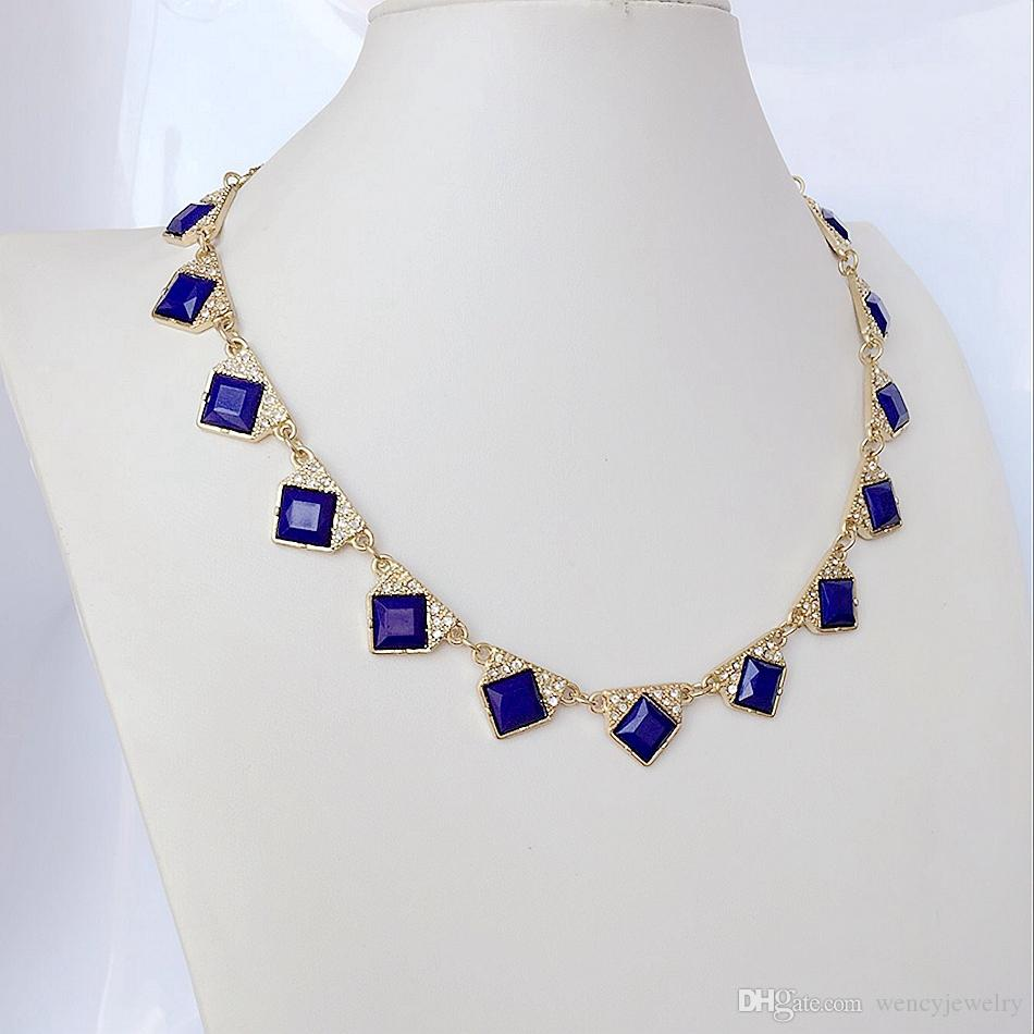Wholesale Fashion Crystal Collar Necklace, Navy Simple Necklace, Wholesale Jewelry Fashion Party New Necklace
