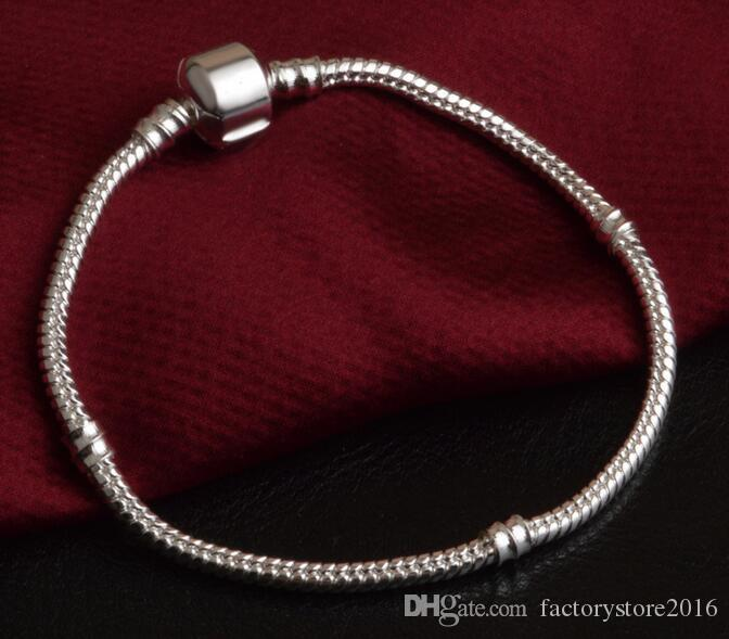 Fabrika Toptan 925 Ayar Gümüş Bilezikler 3mm Yılan Zincir Fit Pandora Charm Boncuk Bileklik Bileklik Takı Hediye Erkekler Kadınlar Için