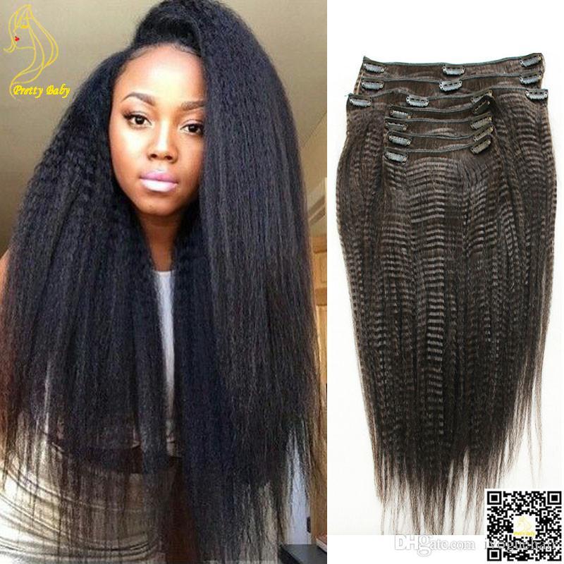 Yaki Kinky Stragiht Clip In Hair Extensions Brazilian Light Yaki