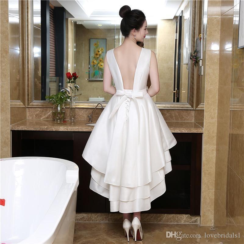 White Short A-line Homecoming Dresses hi-lo jewel Graduation Dress Tiered Sheer sleeveless sexy backless prom dresses