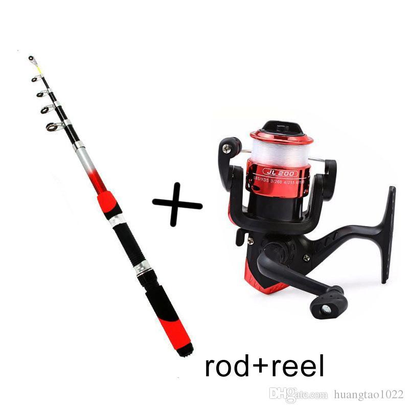 1.8M Rod Combo Portable Shape Carbon Fishing Rod Pole Spinning Rods Spinning 200 Fishing Reel Combos Pesca + Free Spool