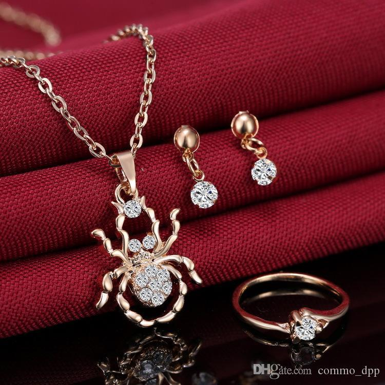 Mode femmes bijoux ensembles collier boucles d'oreilles bague diamant incrusté de spider pendentif colliers pour ensembles de bijoux de demoiselle d'honneur
