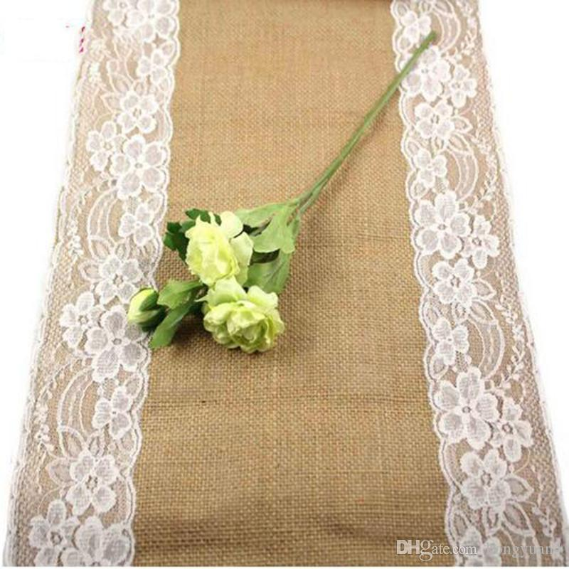 Burlap Lace Hessian Table Runner 30cm x 270cm Vintage Event Party Supplies Lace Tablecloth for Wedding Accessories