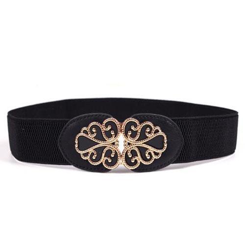 Venda quente Mulheres Lona Webbing Fivela de Metal Tecido Stretch Strap Cintura Cinto