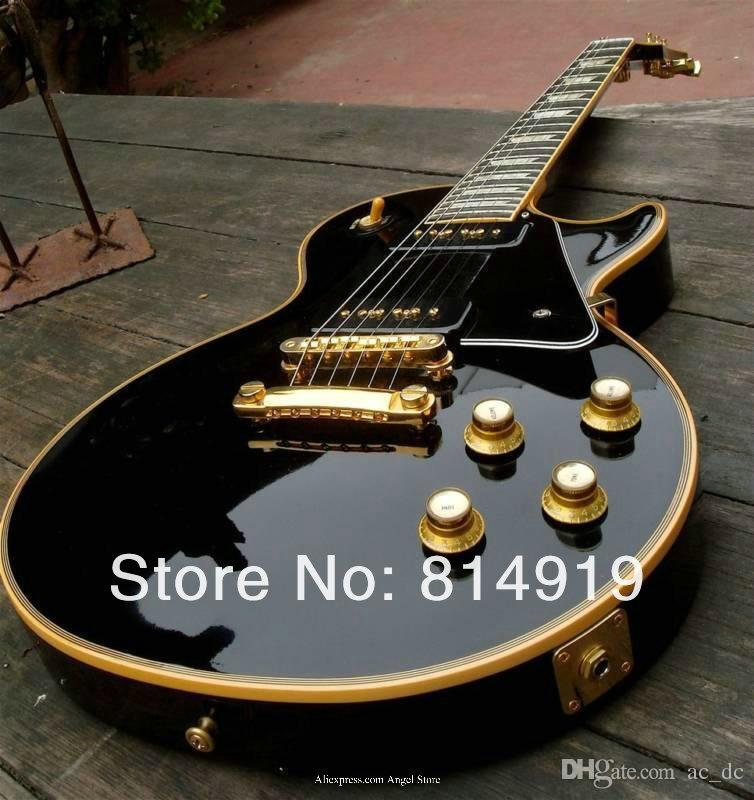 Custom Limited 1958 Reissue P90 Pickup Black Electric Guitar Cream 5 Ply Binding Mahogany Body Block MOP Fingerboard Inlay Gold Hardware