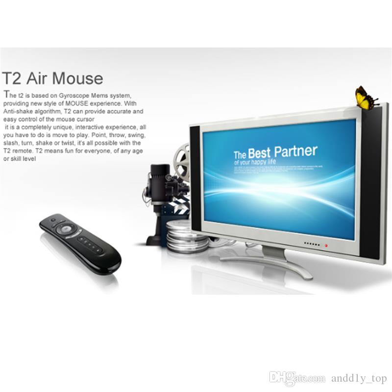Mini Fly Air Mouse T2 Wireless Keyboard Mouse Android Remote Control 3D Sense Motion Stick for Smart TV Box