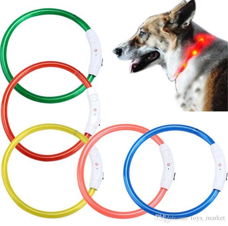 Собака обучение воротник светодиодные открытый световой вырезать USB заряд Pet ошейники свет регулируемый светодиодный мигающий ошейник