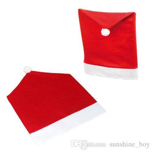 12 stücke Weihnachten Stuhl Zurück Abdeckung Weihnachtsschmuck Glücklich Weihnachtsmann Red Hat Restaurant Stuhl Sitz Zurück Abdeckungen Abendessen Stuhl Kappe Tisch