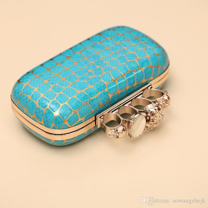 Популярные костяшки женские вечерние клатч дизайнер сцепления сумки кожаный Золотой кошелек онлайн череп Дикий роскошные партии сумка камень шаблон
