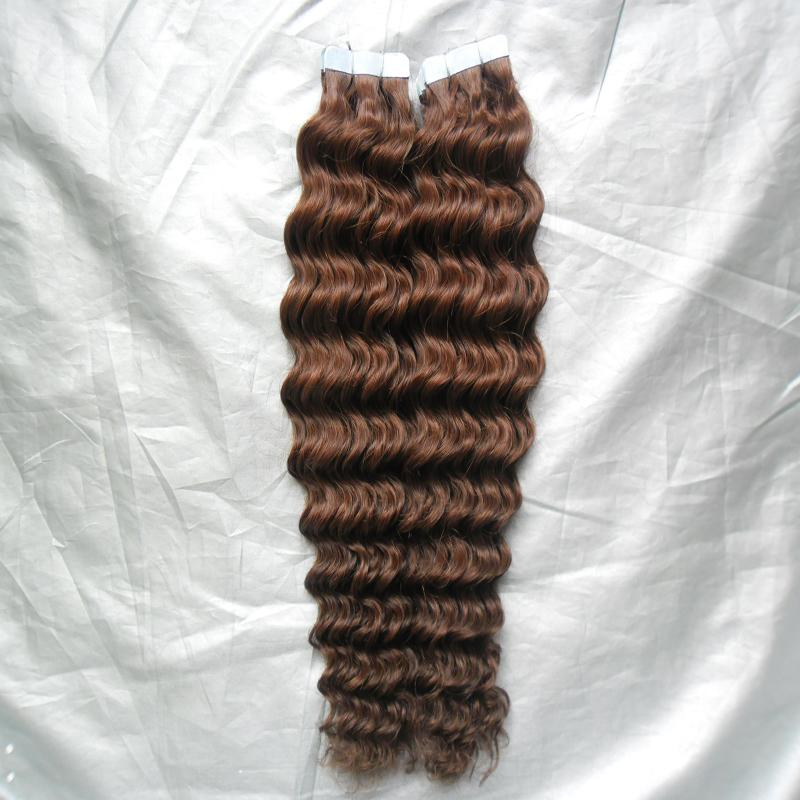 "10-28"" Tape Hair Extensions Virgin 100G Human Tape In Hair Extension Skin Weft PU Extension Remy 30 Auburn Brown Curly Tape Hair"