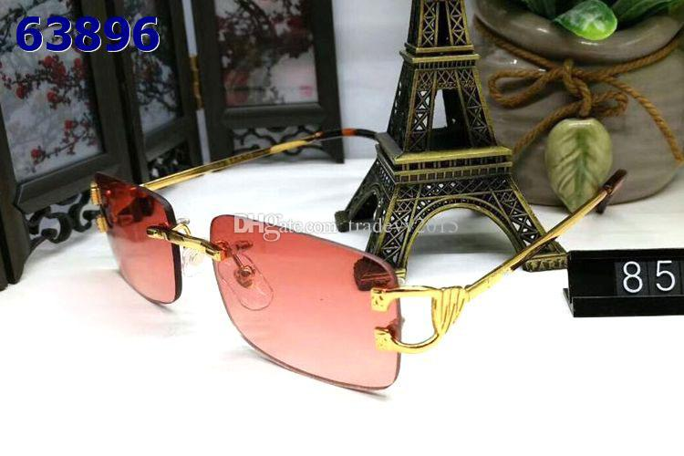 Randlose Sonnenbrille Mann und Frau Unisex Vintage mit Box Berühmte Dame UV400 Büffelhorn Brille blau braun rot Roségold Silber Metallrahmen