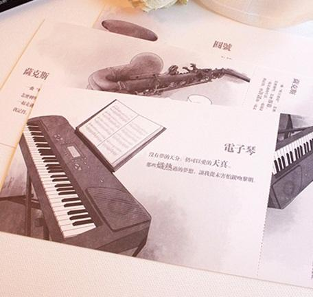 60pcs New Vintage Musical Instruments Series Postcard Set Greeting Card Wholesale