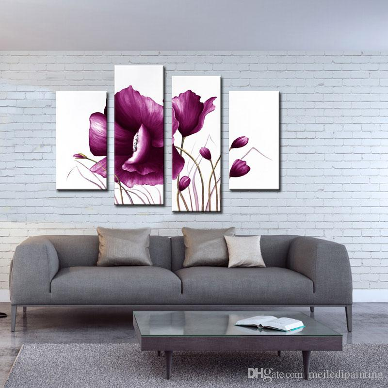 Amosi Art-Canvas Violet Tulip Paintings Modern Art Picture Prints Painting On Canvas For Home Wall Decor Wooden Framed