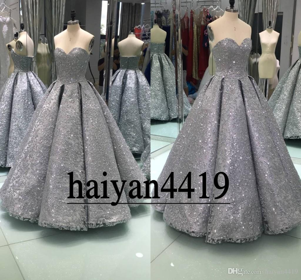 62160622 2018 New Sexy Real Image Prom Dresses Sweetheart Gray Gold Full Lace Sequins  Bling Beaded Plus Size Ball Gown Party Celebrity Evening Gowns Online  Dresses ...