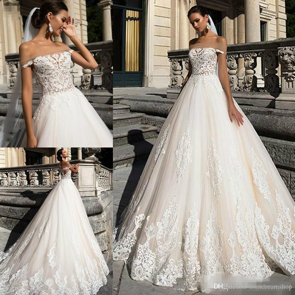 Discount sexy bateau neck milla nova 2018 wedding dresses Milla nova wedding dress 2018