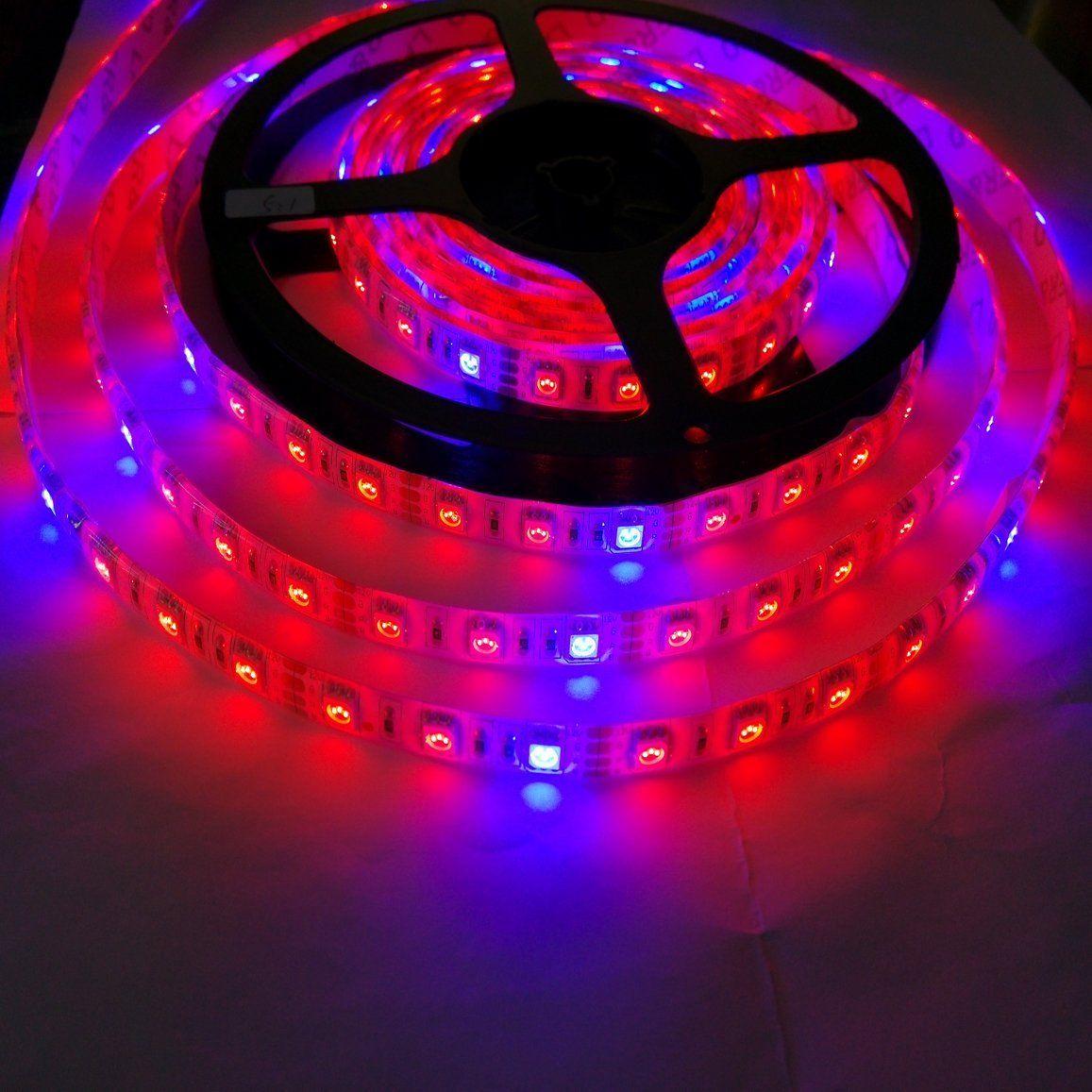 16.4ft Rojo Azul 4: 1 5: 1 7: 1 8: 1 Impermeable 5M 300LED 5050 Creciente DC 12V LED Strip Light para acuario Invernadero Planta hidropónica Grow Light